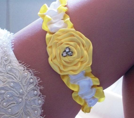 Custom Listing for Kristin - Rose Collection Yellow Rose and White Satin Wedding Garter set