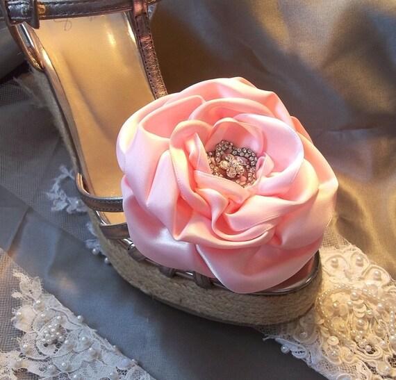Pink Wedding Shoe Clips, Bridal Shoe Clips, Pink Satin Rose Shoe Clip, Wedding Shoe Clips
