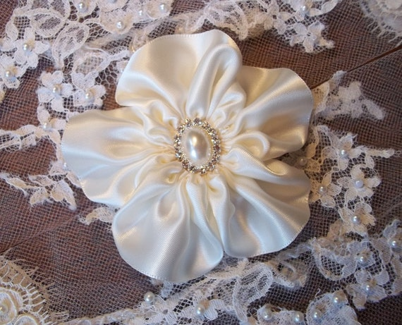 Ivory Satin Flower Fascinator Hair Clip with Rhinestone and Pearl Center