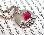 stamped charm necklace, girls, personalized, crystal, brthday, christmas, flower girl
