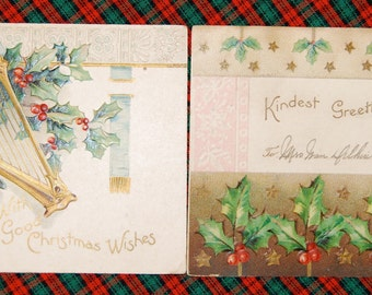 "ANTIQUE POSTCARDS "" Christmas Wishes"" Post Cards   Cards are postmarked 1905  One has Benjamin Franklin 1 Cent Stamp  Epsteam"