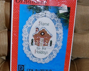 Cross Stitch   Vintage Lace Ornament Cross Stitch Kit - Home for the Holidays Counted Cross Stitch  Epsteamc