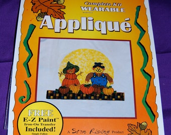 """Fall/Halloween/Thanksgiving Applique Kit of """"Fall Harvest Couple"""", by Star Rising  Iron On Ultra Bond Adhesive Backing"""