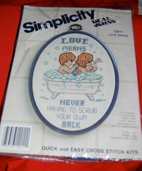"""Counted Cross Stitch """"Love Means...never having to scrub your own back"""" Complete Unopened Kit  Epsteam Vintage Simplicity Kit"""