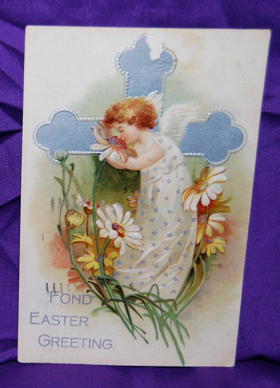 "Easter Postcard  Postmarked April 16 1908  Berlin Series 612  Printed in Germany ""Fond Easter Greeting""  Angel at the Cross"
