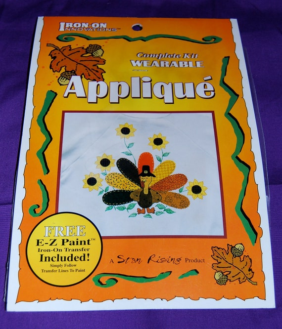 "Thanksgiving  Applique Kit of ""Happy Turkey"", by Star Rising Iron On Ultra Bond Adhesive Backing"