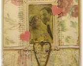 "wedding or anniversary card, handmade vintage look mixed media collage: ""Yours"""