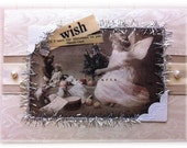 "Christmas card, handmade, vintage look, mixed media: ""Christmas Wish"""