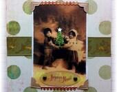 "Christmas card, handmade, vintage look, mixed media: ""Joyeux Noel"""