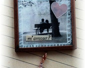 "Valentine ornament, handmade vintage look mixed media: ""M'amour"""