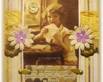 """thank you card, handmade vintage look mixed media collage: """"No Bottom"""""""