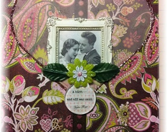 "love card, handmade vintage look mixed media, ""A Kiss"""