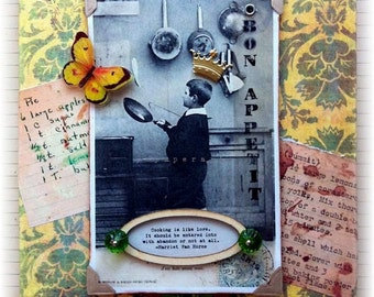"collage, handmade, vintage look, mixed media: 'Cooking Is Like Love"""