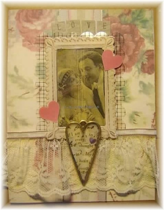 """wedding or anniversary card, handmade vintage look mixed media collage: """"Yours"""""""