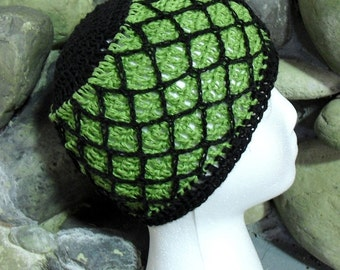 Hand Crocheted Hemp Head Beanies in Green and Black--Rainbow Collection