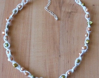 Hand Knotted Hemp and Real Freshwater Pearl Necklace or Wrap Bracelet
