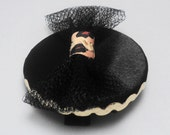 Leopard Black Fascinator w/ black tulle bow and gold rick rack trim