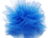 Royal Blue Hair Clip - ruffled tulle combined with a star button