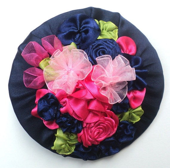 Navy Blue Fascinator w/ hand made ribbon flowers - On Sale