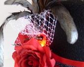 Red Light Rose Top Hat Steampunk Valentine
