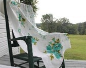 Vintage Tablecloth with Antique Roses and Daisies