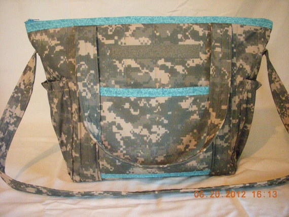 SALE ACU Army Camo Quilted Diaper Bag Overnight by LoveToSewBags