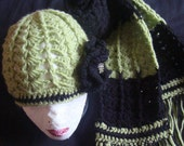 Green and Black Flower Hat and Scarf Set
