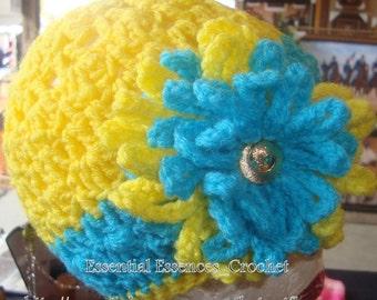 Bright Yellow & Torquise Flower Loose Beanie