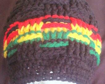 Bob Marley Colors-Basket Weave Stitch Hat