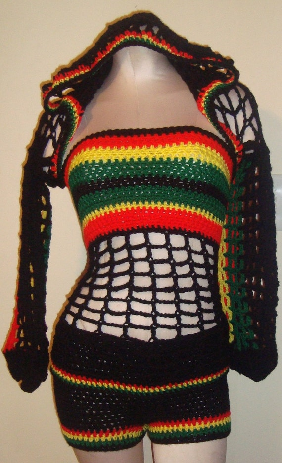 Bob Marley Colors - Hooded Shrug w/ Matching Boy Shorts and Tube Top--ORDERS ONLY--