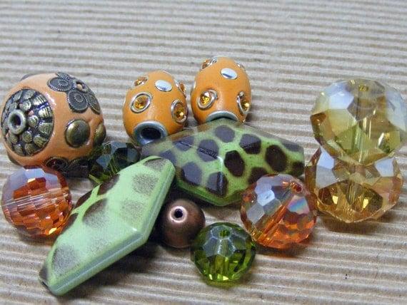 Czech Glass CACTUS SUNSET Assorted Beads