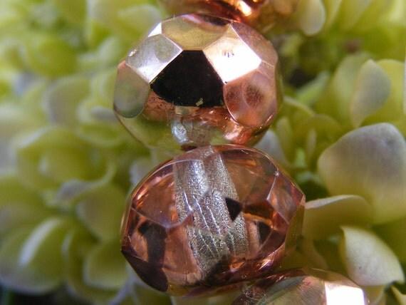 PINK COPPER half tone Czech Glass Beads 6x8mm 10each