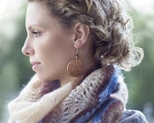 Hand knitted shawl in colors: Blue brown and Cream lovely warm bridal wedding
