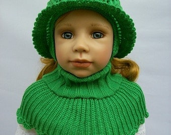 crocheted Hat and poncho (green)