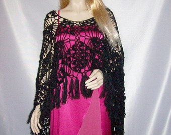 Elegant black crocheted shrug poncho lace Universal size crochet