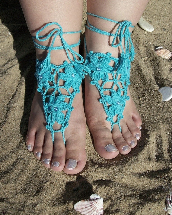 Azure Sexy crocheted barefoot sandals steampunk, victorian lace, sexy, yoga, anklet ,wedding, beach or pool party- Ready to Ship