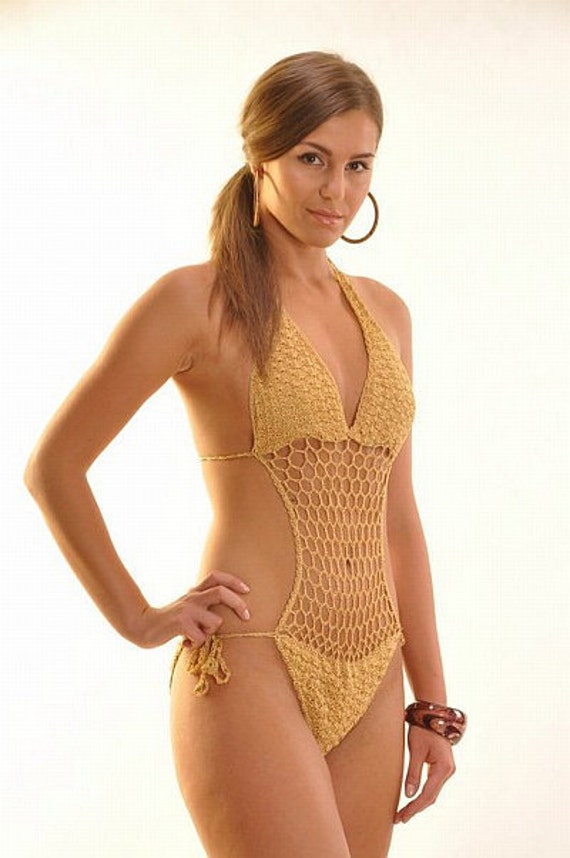 Gold Crocheted Cutout One-Piece Swimsuit....