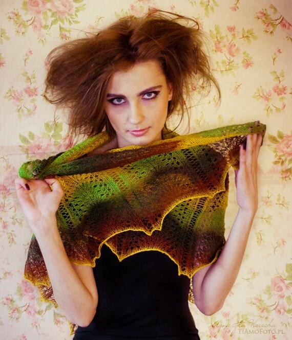Autumn colors knitted shawl kauni lace wool  grren yellow brown