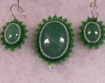 Green Aventurine Brooch with Matching Earrings