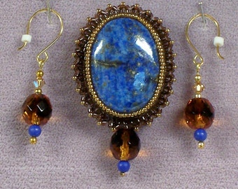 Lapis Lazuli Brooch with Matching Earrings