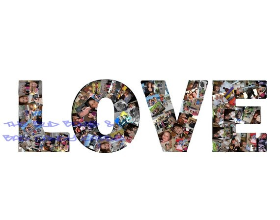LOVE Customized Photo Collage - Love, Camp, BFF, Heart, Names, Words, Bridesmaid Gift, Boyfriend