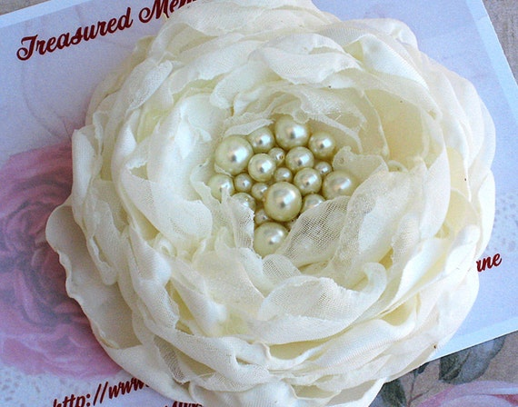 Wedding Hair Flower in Ivory for Bride, Bridesmaid, Hand Crafted with Satin, Chiffon and Organza with Hand Sewn Pearls.
