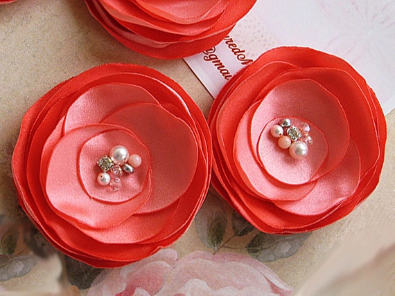 Coral Satin Flowers - Wedding Hair Clips for a Bride, Shoe Clip, Brooch for Bridesmaids, Flower Girl, Special Occasion, Photo Prop