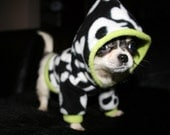 Polar fleece skull and cross bones small dog hoodie sizes XXS-L