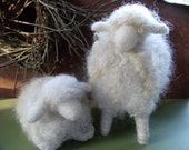 Needle Felted Natural Wool Sheep Pair