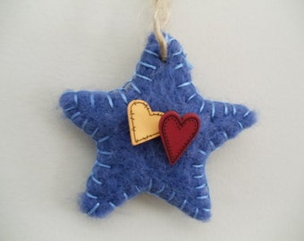 Primitive Blue Star Ornament Needle Felted