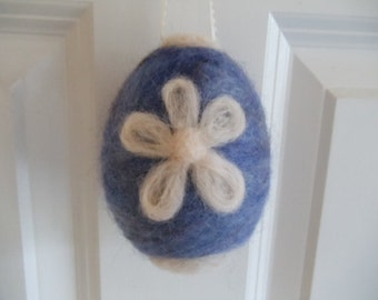 Needle Felted Easter Egg in Cornflower Blue and White Wool Ornament
