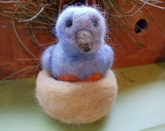 Eastern Wool Bluebird in Tan Alpaca Nest Needle Felted Woodland