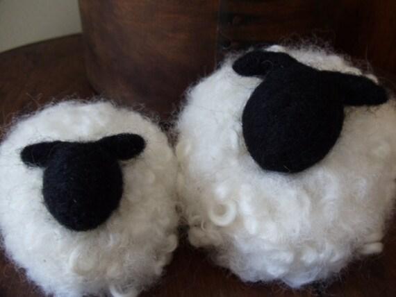 Needle Felted Curly White Woolie Momma Ewe Sheep with Her Sleepy Little Lamb