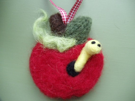 Apple of My Eye Needle Felted Apple Ornament with Worm